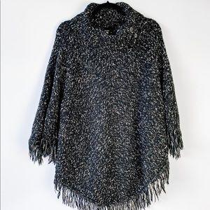 Kensie Black Turtle Neck Knit Poncho Fringe M/L